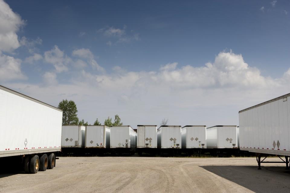 Semi trucks waiting to ship